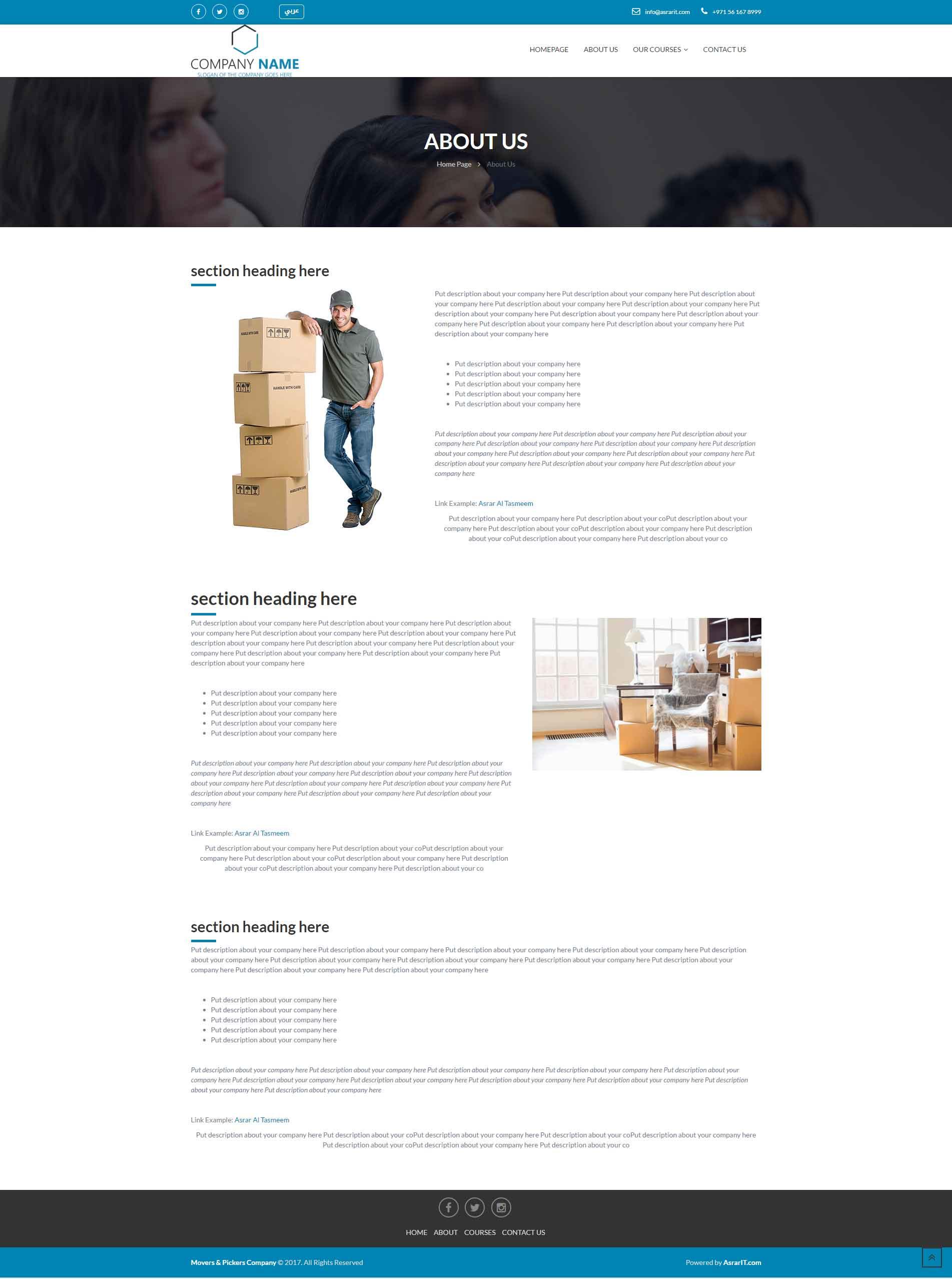 Movers Website Templates Asrar Al Tasmeem Company