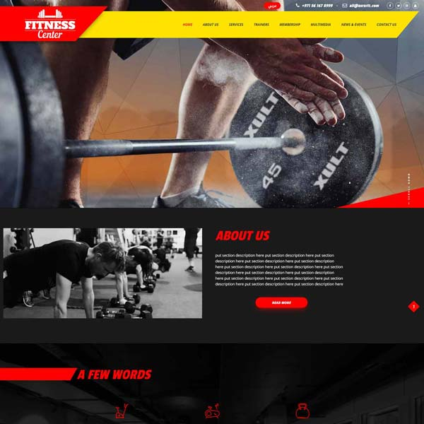 Health & Fitness Club Or Gym Website